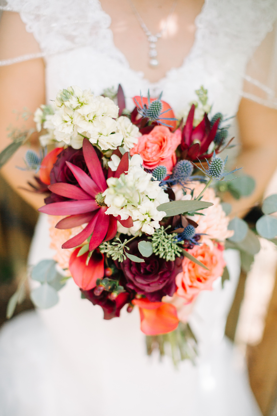 Pink Burgundy Red And Peach Coral Bridal Wedding Bouquet Marry