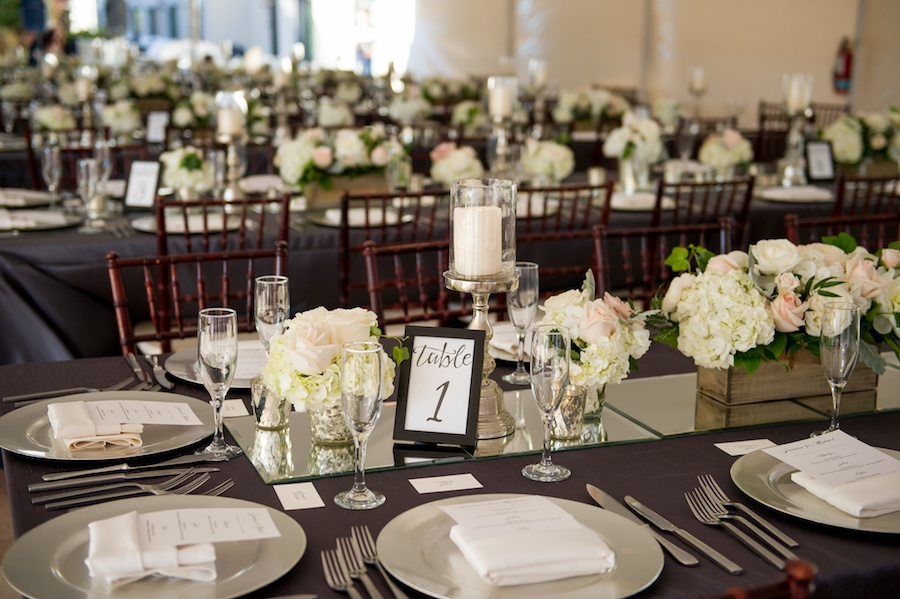 Outdoor, Tampa Hotel Wedding Reception Decor with Brown Chiavari Chairs, Grey Linens. and Ivory and Pink Floral Centerpieces | Tampa Chairs a Chair Affair, Tampa Rentals Coast to Coast Event Rentals, Tampa Linens Connie Duglin Linens