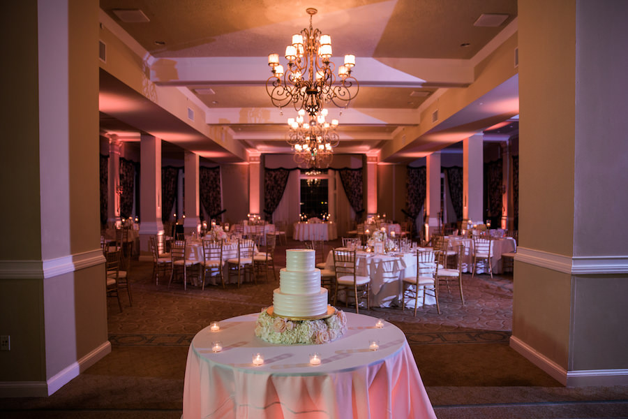 St. Pete Beach Ballroom Jewish Wedding Reception with 3-Tier Round White Wedding Cake by St. Petersburg Baker The Artistic Whisk | Iconic Hotel Wedding Venue | Loews Don CeSar Pink Palace Hotel