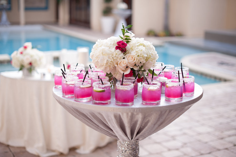 Signature, Pink Cocktails at South Tampa Wedding Cocktail Hour