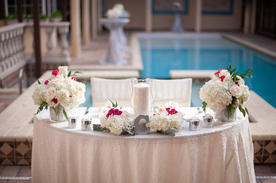 South Tampa Wedding Reception Sweetheart Table Decor With Ivory And