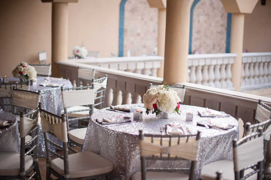 Outdoor, South Tampa Wedding Reception Table Decor with Silver. Sequin Linens, Ivory and Pink Floral Centerpieces, and Silver Chiavari Chairs