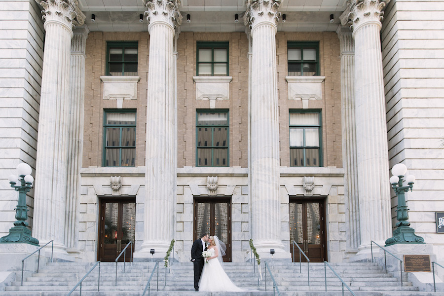 Bride and Groom Downtown Tampa Wedding Portrait