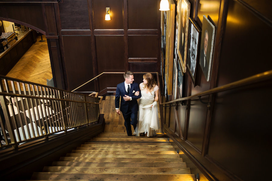 Vintage Inspired Bride and Groom Wedding Portrait in Navy Blue Suit and Ivory Beaded Jenny Packham Wedding Dress