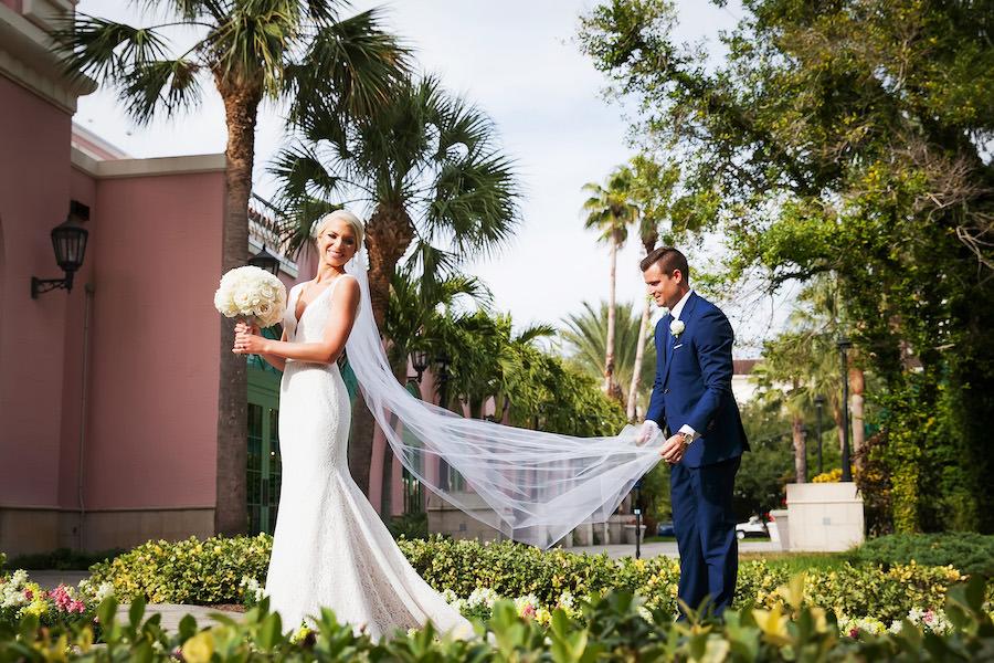 Outdoor St. Pete Bride and Groom Wedding Portrait | St. Petersburg Wedding Photographer Limelight Photography