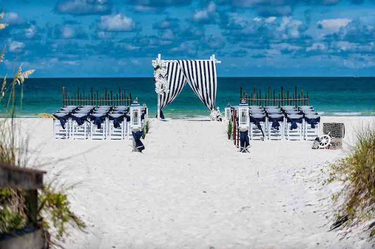 Nautical Inspired Florida Beach Wedding Ceremony | Tampa Beach Wedding and Florida Destination Wedding Planners Gulf Beach Weddings