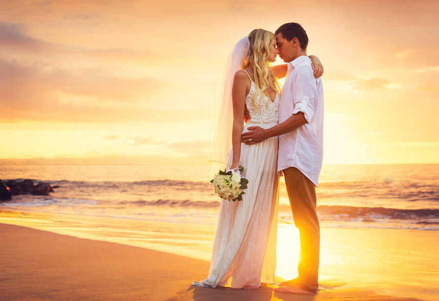 Florida Bride and Groom Sunset Beach Wedding Portrait | Tampa Beach Wedding and Florida Destination Wedding Planners Gulf Beach Weddings