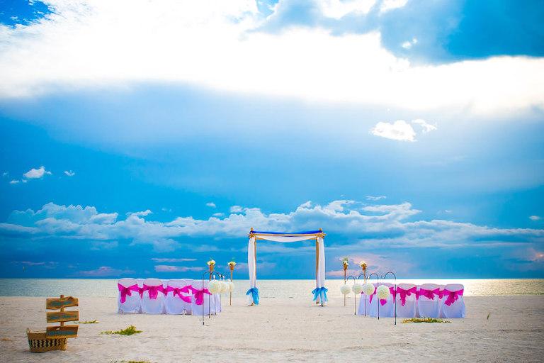 Tropical Inspired Florida Beach Wedding Ceremony | Tampa Beach Wedding and Florida Destination Wedding Planners Gulf Beach Weddings