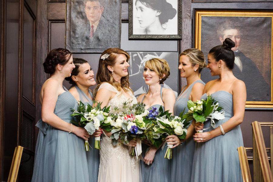 Vintage Inspired Bridal Party Wedding Portrait with Grey Blue Jenny Yoo Chiffon Bridesmaid Dresses and Ivory Beaded Jenny Packham Wedding Dress | South Tampa Wedding Makeup Artist Lindsay Does Makeup