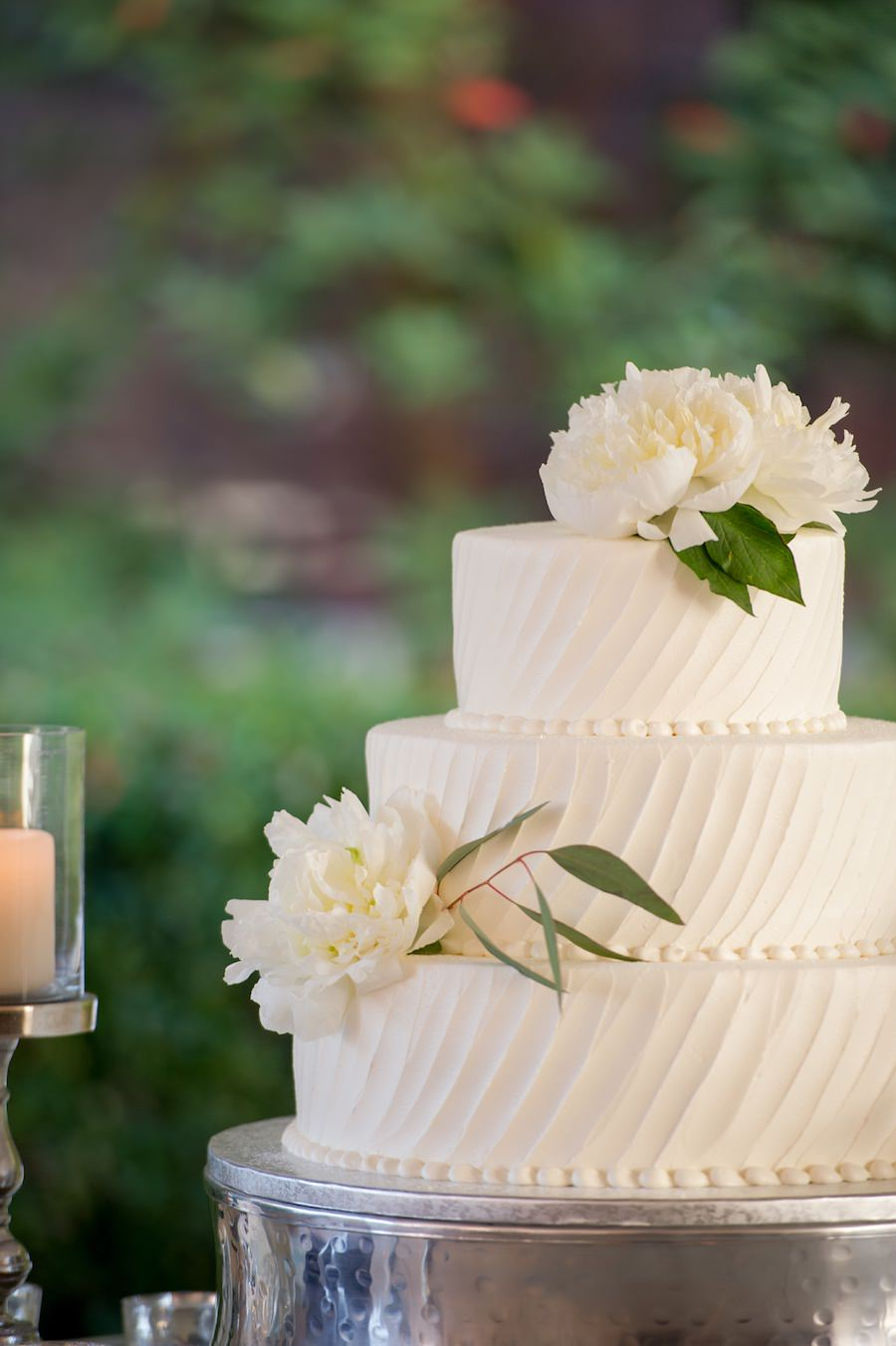 Three Tiered, Ivory, Round Wedding Cake with White Peony Accent Flowers