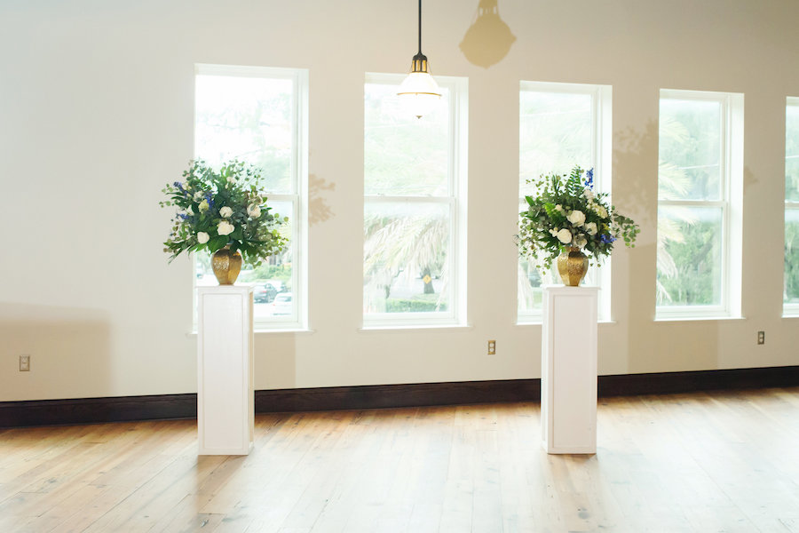 Ivory Floral with Greenery in Gold Brass Vase Wedding Ceremony Arrangements