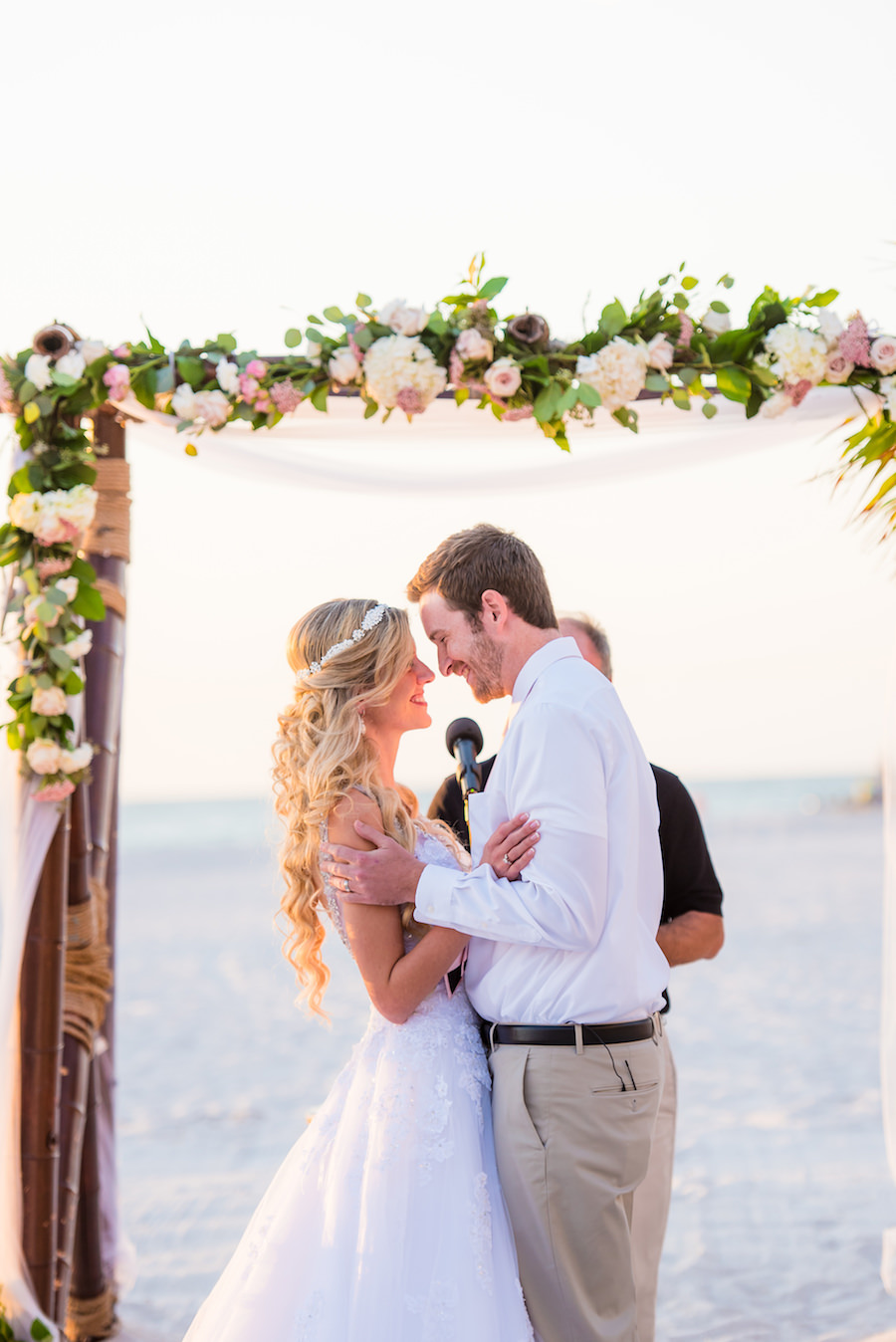 Bride and Groom Beach Wedding Ceremony Portrait | St. Pete Beach Florida Wedding Ceremony St. Pete Beach | Florida Beach Wedding Ceremony Prayer | Tampa Wedding Photographer Kera Photography