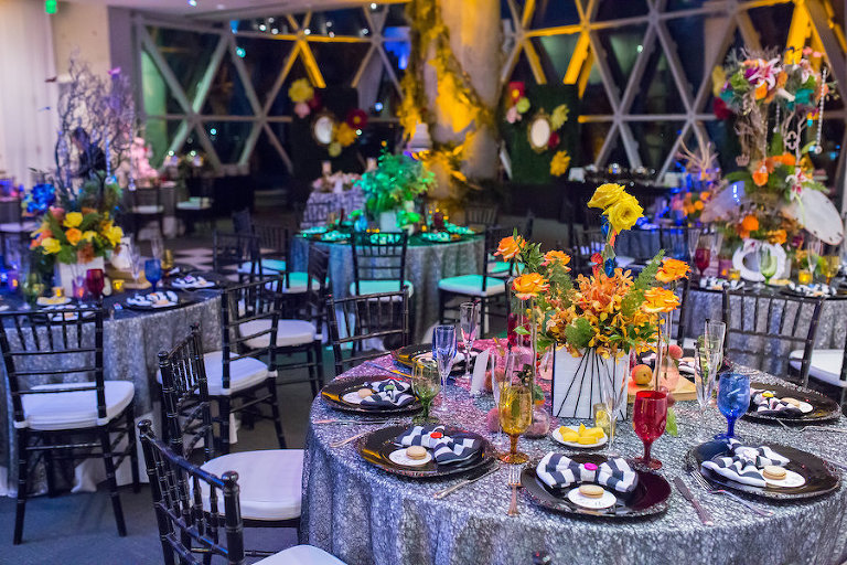 Alice in Wonderland Themed Whimsical Fairytale Wedding Reception Decor with Yellow and Orange Centerpieces | St. Petersburg Wedding Planner UNIQUE Weddings & Events | Downtown St. Pete Wedding Venue Dali Museum