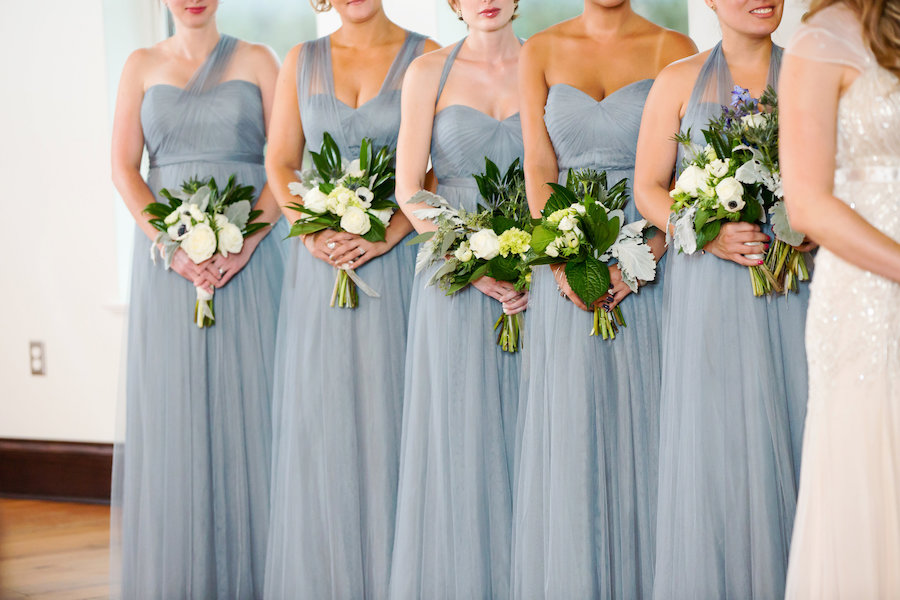 Bridal Party Wedding Portrait with Grey Blue Jenny Yoo Chiffon Bridesmaid Dresses and Ivory Bouquets with Greenery