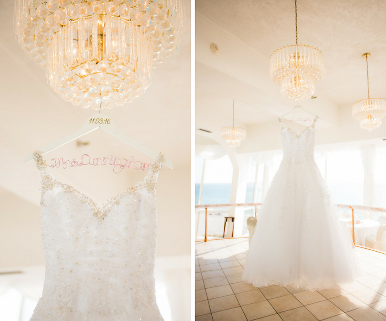 White Wedding Dress with Beaded Bodice on Personalized Wedding Hanger