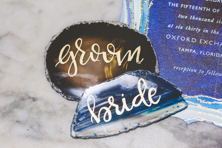 Blue Agate Stone Custom Wedding Place Cards for Bride and Groom