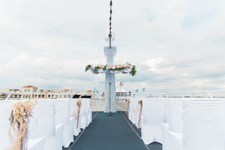 Outdoor, Nautical Wedding Ceremony on Yacht with White Chair Covers | Tampa Unique Waterfront Wedding Venue Yacht Starship