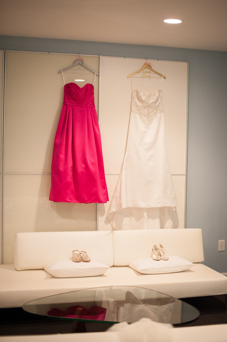 Strapless, Ivory Beaded Wedding Dress and Hot Pink Bridesmaids Dress