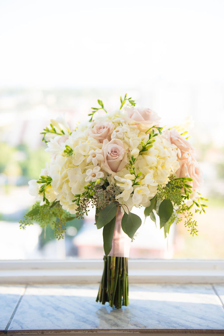 Ivory Hydrangeas and Blush Pink Roses with Greenery Wedding Bouquet with Pink Satin Ribbon