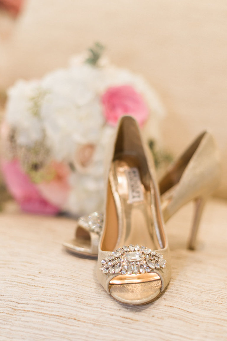Champagne, Gold Badgley Mischka Wedding Heels with Crystal, Rhinestone Embellishment