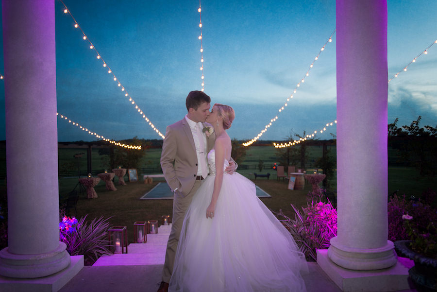 Outdoor, Nighttime, Bride and Groom Wedding Portrait with String Market Twinkle Lights | Rustic Dade City Barn Wedding Venue Barrington Hill Farm
