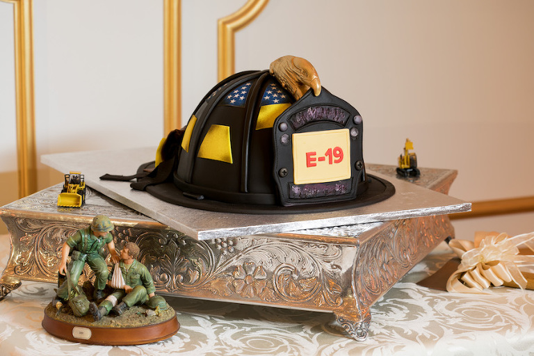 Firefighter Theme Helmet Groom's Wedding Cake