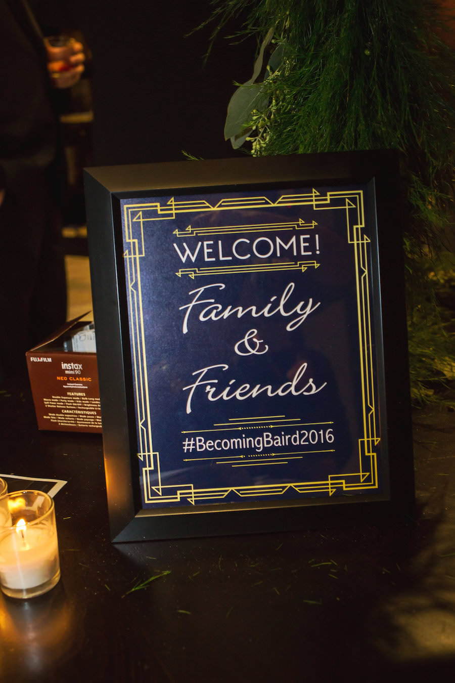 Art Deco Inspired Wedding Reception Welcome Sign | Navy and Gold Wedding Decor
