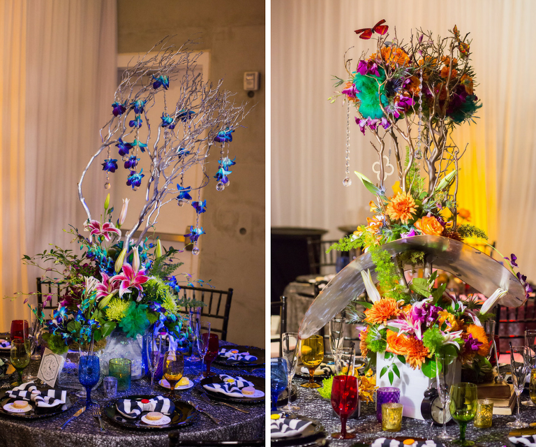 Alice in Wonderland Themed Whimsical Fairytale Wedding Reception Decor with Colorful Yellow, Orange, Blue and Purple Centerpieces | St. Petersburg Wedding Planner UNIQUE Weddings & Events