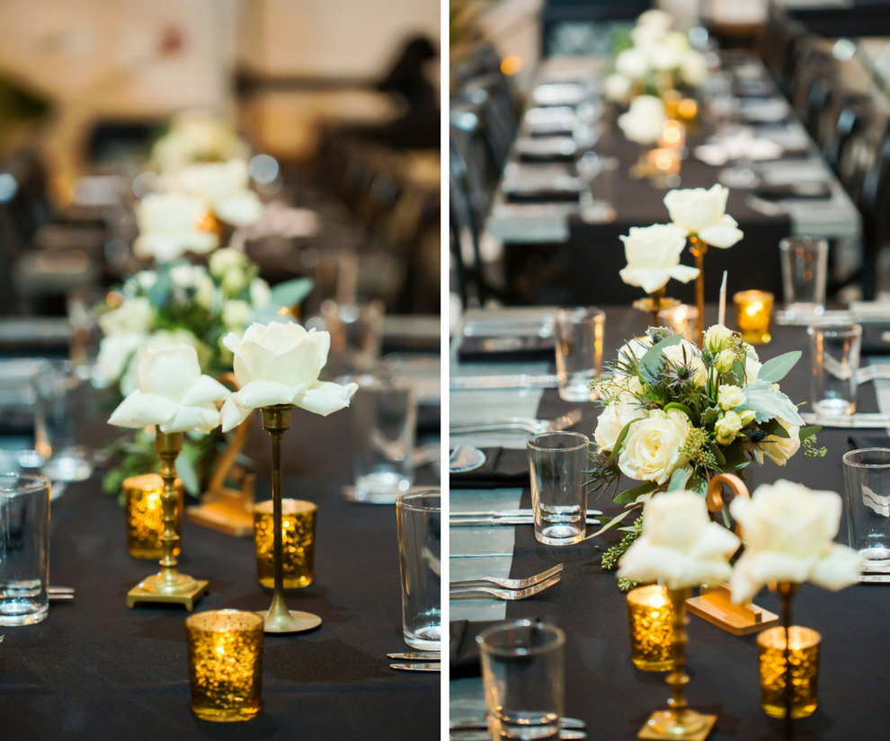 Vintage Inspired Wedding Reception with Black, Gold and Ivory Décor on Long Feasting Tables
