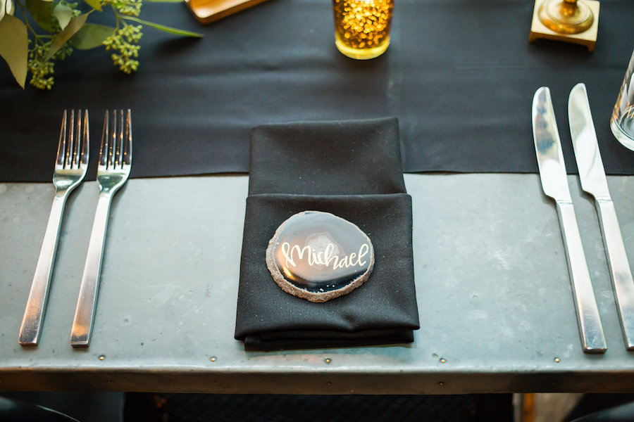 Vintage Wedding Place Setting with Black Linens and Blue Agate Stone Place Card
