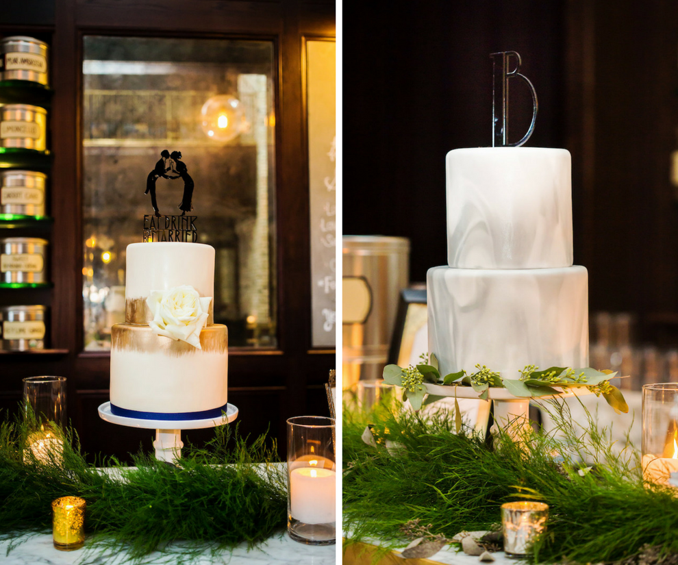 Vintage Art Deco Inspired Wedding Cake with Art Deco Monogram | Silver, Grey and Gold Wedding Cake