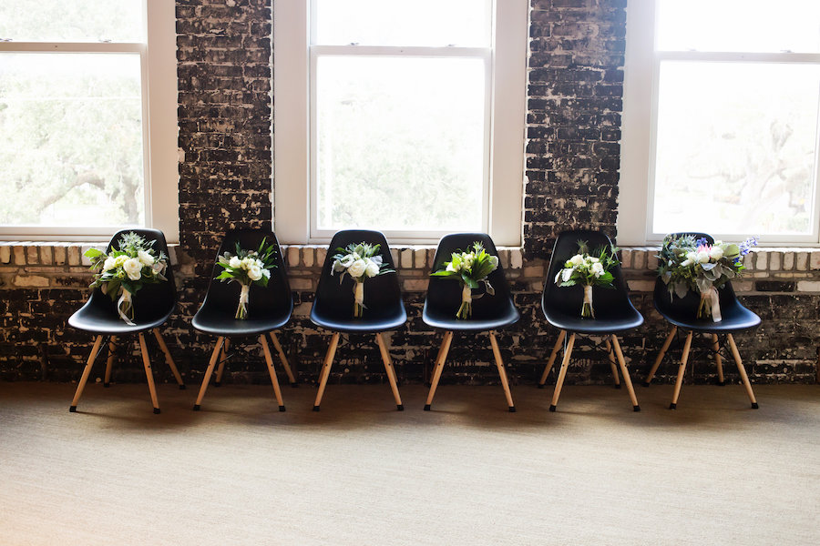 Ivory and Blue Floral Wedding Bouquets with Greenery