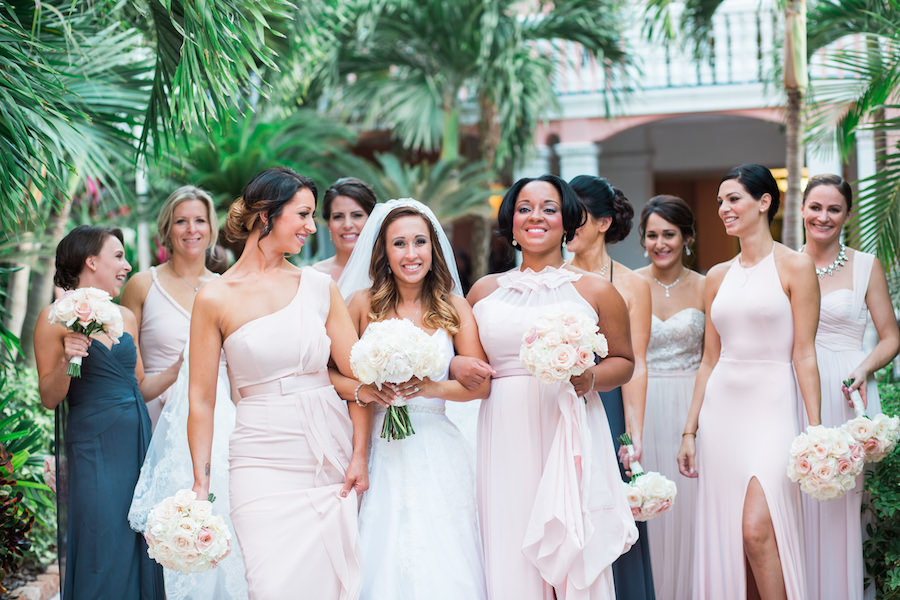 Blush Pink Bridal Party Bridesmaid Dresses with White and Pink Pastel Wedding Bouquets