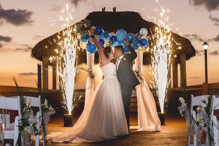 Bride and Groom Sparkler Wedding Exit Decor | Nature Coast Entertainment Services | Tampa Bay Wedding Venue Bay Harbor Hotel Tampa