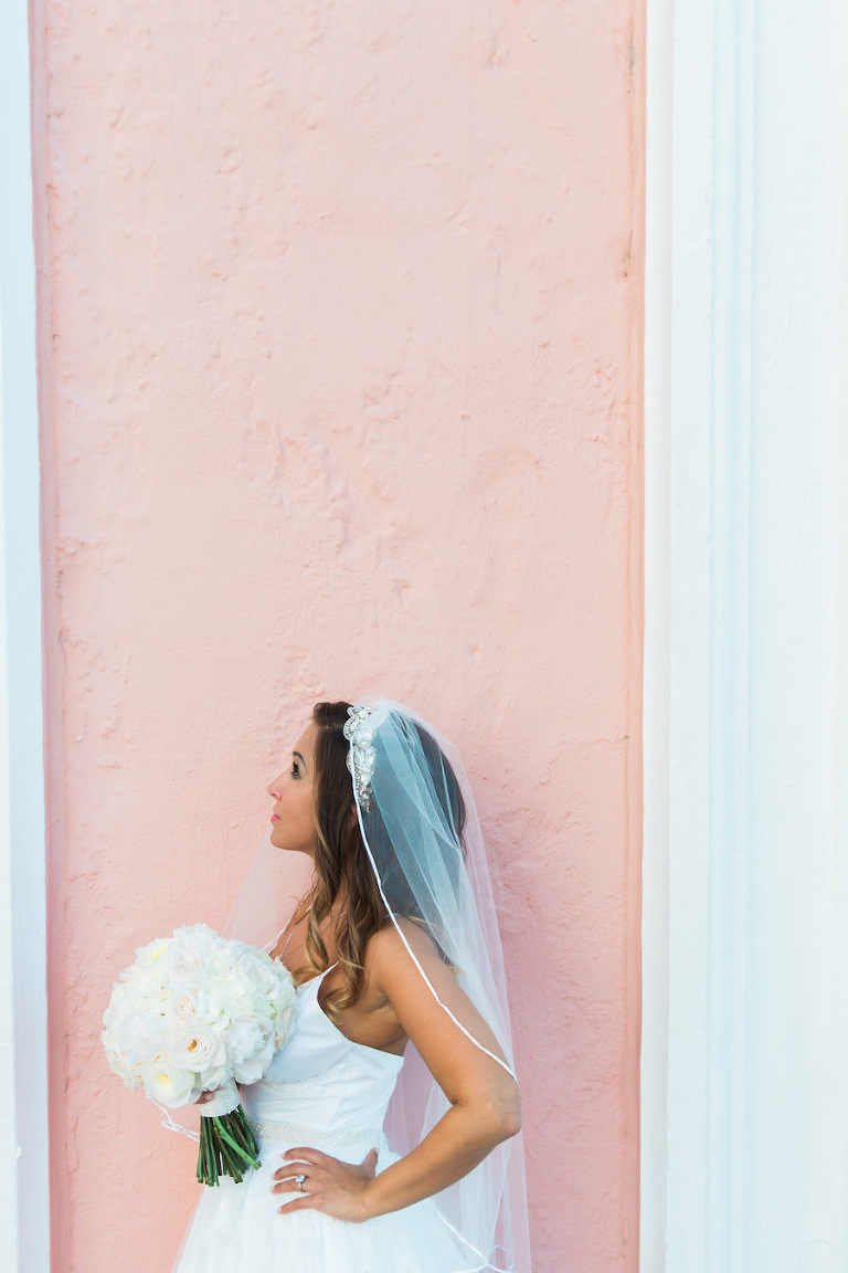 St. Pete Bride Wedding Portrait with White Peony Bouquet