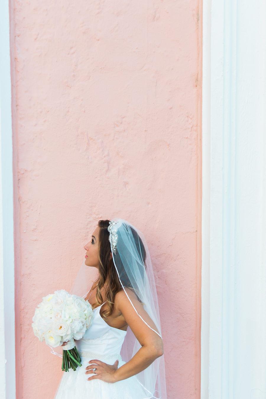 St. Pete Bride Wedding Portrait with White Peony Bouquet