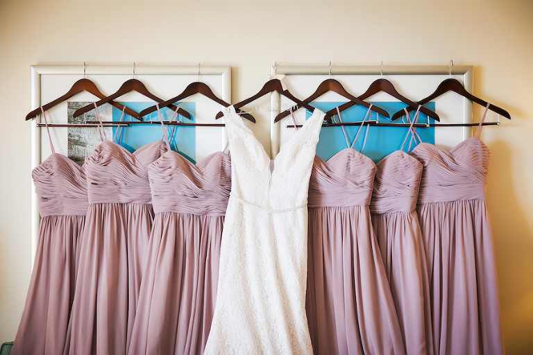 Bridal Party Dusty Rose Watters Bridesmaids Dresses and Ivory Sleeveless Mikaella Wedding Dress