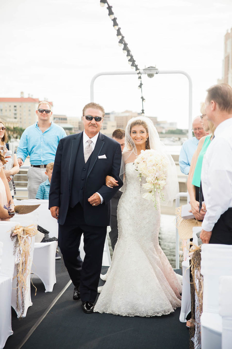 Outdoor, Nautical Wedding Ceremony with Bride and Father of Bride Walking Down the Aisle