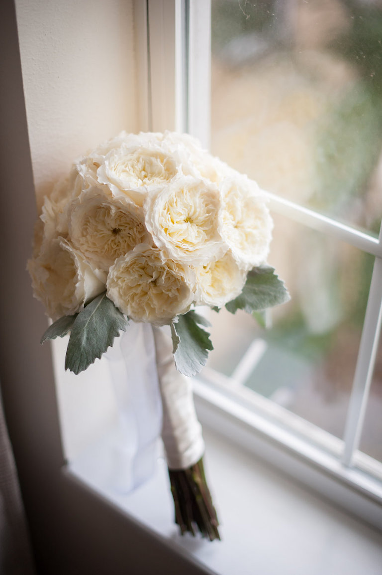Ivory, Peony Bridal Bouquet at South Tampa Wedding