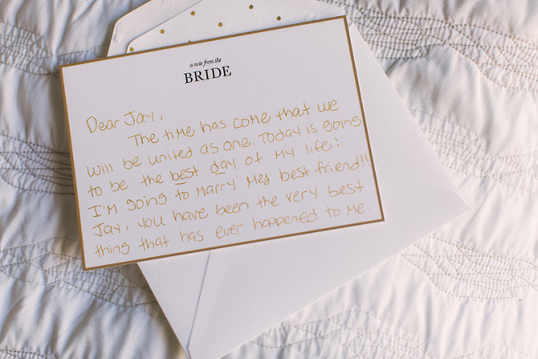 Note from Bride to Groom on Wedding Day