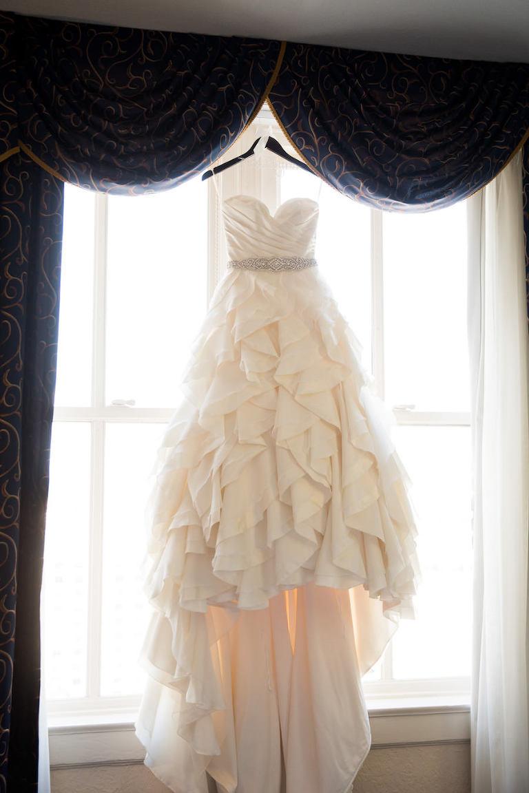 Strapless Sweetheart Ivory Mikaella Ballgown Wedding Dress with Rhinestone Belt and Ruffles