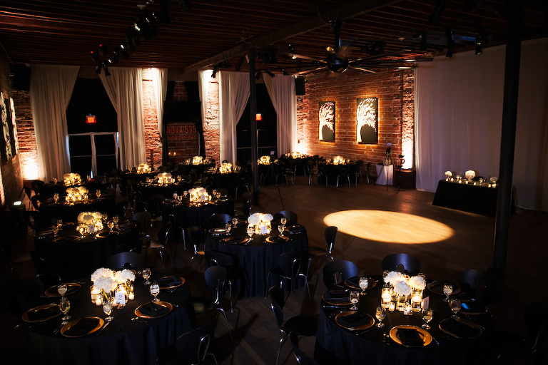 Ivory, Gold and Navy Wedding Reception at Unique St. Pete Wedding Reception Venue NOVA 535 | Wedding Planner Exquisite Events | Photographer by Limelight Photography