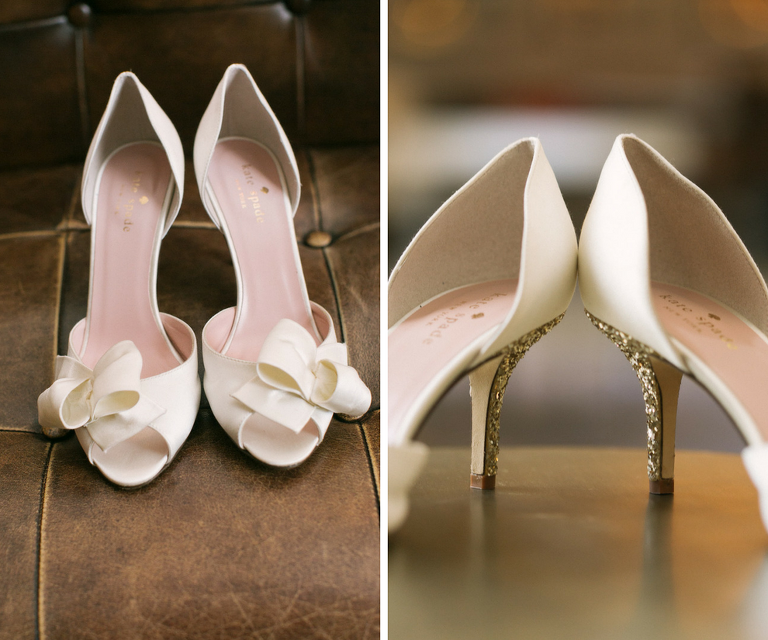 Ivory, Kate Spade Wedding Shoes with Gold Glitter Heels