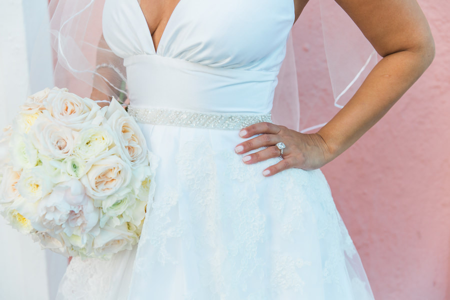 St. Pete Bride Wedding Portrait with White and Blush Phink Peony Bouquet