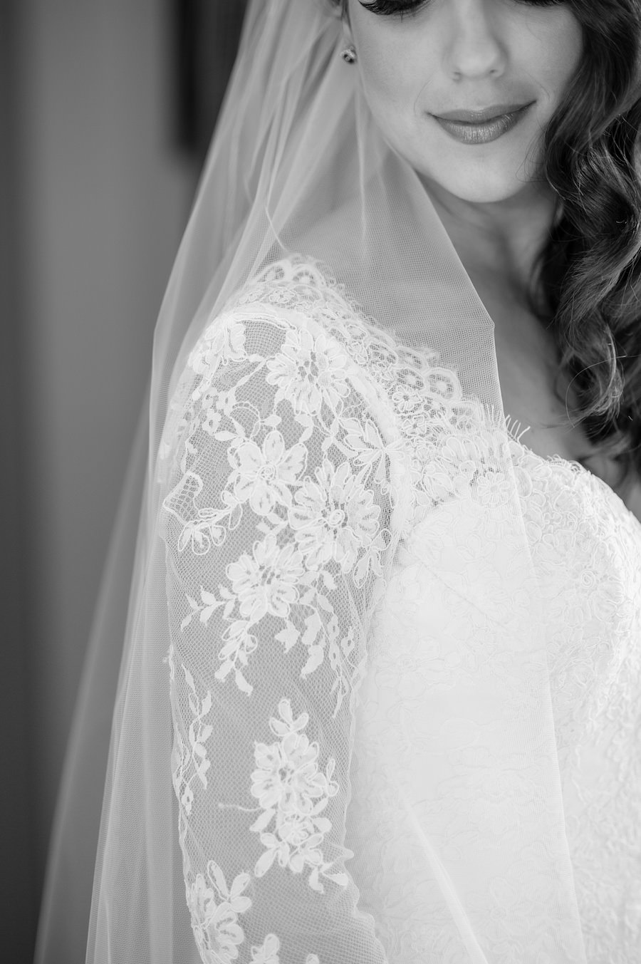 Bridal Wedding Dress Detail | Ivory, Lace Long Sleeve Wedding Dress and Chapel Veil