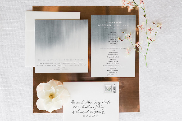 Modern Slate Grey and White Tropical Wedding Inspiration with Handwritten Calligraphy | Minted.com Wedding Invitation Stationery