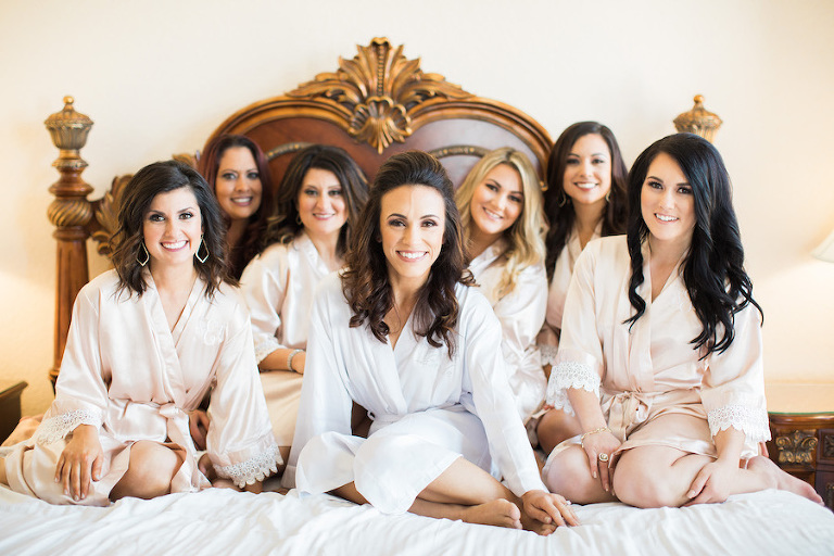 Bride and Bridal Party Getting Ready Portrait in Matching Blush Satin Robes | Tampa Wedding Planner Blush by Brandee Gaar