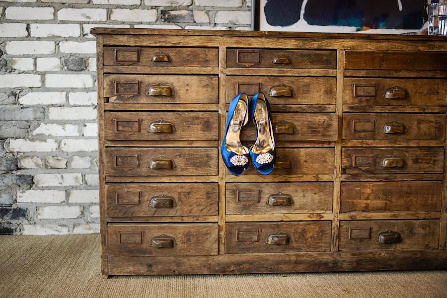 Royal Blue Satin Wedding Shoe with Rhinestone Broach | Royal Blue Satin Peep Toe Pump with Rhinestone Broach