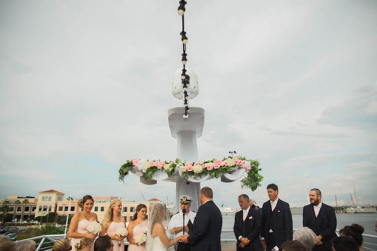 Outdoor, Nautical Wedding Ceremony on Yacht with Ivory Pink and Green Floral Decor on Boat Deck | Tampa Unique Waterfront Wedding Venue Yacht Starship