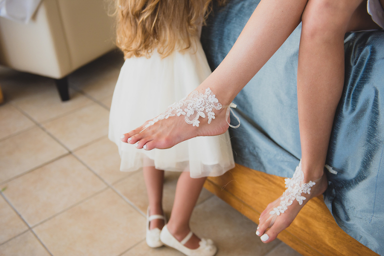 Bridal Lace Barefoot Beach Sandal Wedding Shoes